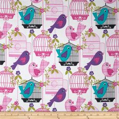 Michael Miller Sing Song Bird Cage White from @fabricdotcom  Designed for Michael Miller , this fabric is perfect for quilting, apparel and home décor accents.  Colors include pink, white, aqua, purple, magenta on a white background.
