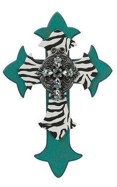 M&F Turquoise & Zebra Decorative Wooden Multi-Dimensional Wall Cross | Cavender's