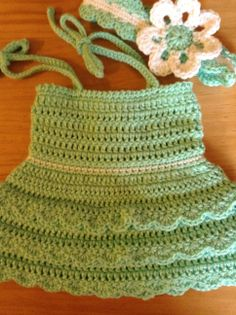 Summer dress with matching head band $20 (prices vary with sizes)  order at https://www.facebook.com/Brandyscutecrochetcreation
