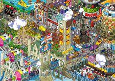 London (see more on http://www.tranchesdunet.com/des-villes-entieres-en-pixel-art/ )