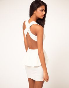 ASOS Peplum Dress with Cut Out Back