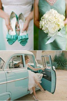 Vintage wedding - mint green theme, vintage car.