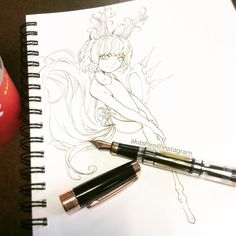 Doodled my Lyn summoner while waiting for Mato to get off class . . . #inkdrawing #BladeandSoul #fountainpen