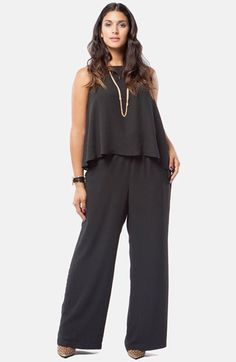 Mynt 1792 Asymmetrical Overlay Wide Leg Jumpsuit (Plus Size) available at Plus Size Romper, Plus Size Jumpsuit, Plus Size Dresses, Plus Size Outfits, Mini Dresses, Ball Dresses, Plus Size Summer Fashion, Plus Size Fashion Tips, Big Girl Fashion