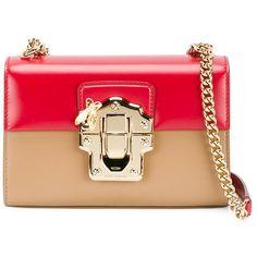 Dolce & Gabbana mini Lucia bi-colour bag ($1,935) ❤ liked on Polyvore featuring bags, handbags, shoulder bags, red, shoulder strap handbags, leather shoulder handbags, mini crossbody, leather man bags and leather shoulder bag