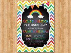 Printable Rainbow Birthday Invitations ~ Rainbow birthday invitation chevron birthday invitation