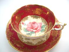 Antique Paragon Tea cup and Saucer, Red and Gold Tea cup with Pink Rose, Double…