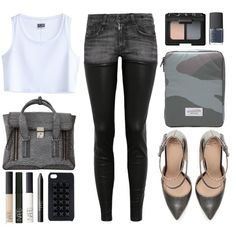 """""""lusting for: R13 Chaps stretch-denim and leather low-rise skinny jeans."""" by goldiloxx on Polyvore"""