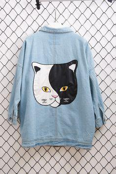 Faux Leather Dual-tone Cat Stitching Blue Denim Coat