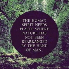 the human spirit needs places where nature has not been rearranged by man