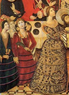 Probably the earliest depiction of the Spanish verdugada (farthingale), Catalonia, 1470-80