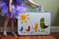 The adorable bird characters on this vintage suitcase makeover were inspired by the illustrations in a Land of Nod catalog. now this suitcase is being used to hold dress up clothes! You can create your own as well, just check out the tutorial on Honest to Nod.