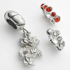 Dayna U Wisconsin Badgers Sterling Silver Crystal Bead & Logo Charm Set