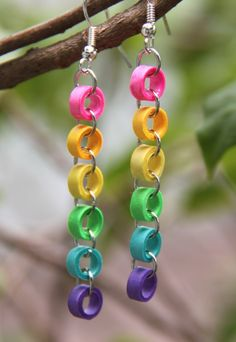 Rainbow Chain Earrings Paper Quilled by HoneysHive on Etsy. $13.00, via Etsy.
