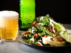 Warm salad of griddled baby gem lettuce, asparagus, bacon and blue cheese dressing http://www.eatout.co.za/recipe/warm-salad-griddled-baby-gem-lettuce-asparagus-bacon-blue-cheese-dressing/