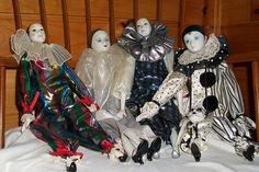 Porcelain Pierrot Harlequin Dolls