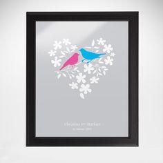Schmetterlinge im Bauch, und die Vöglein singen. Für Verliebte ist die Welt gerne mal eitel Sonnenschein. Unser Bild Vogelpärchen im Blumenherz ist ein perfektes Geschenk für alle Verliebten.