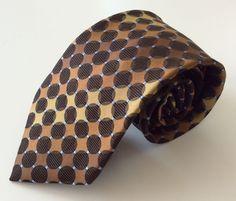 Sean John Neck Tie Brown Gold Blue Circles 100% Silk #CalvinKlein #NeckTie