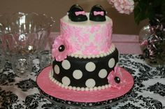 pink and black damask baby shower By prillie on CakeCentral.com
