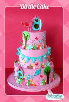 Birdie Cake with birdhouse and garden scene