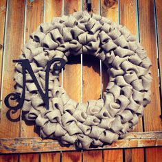 """Bubble Burlap Wreath with Monogram Initial Choose Your Color - 23"""" LARGE on Etsy, $60.00"""