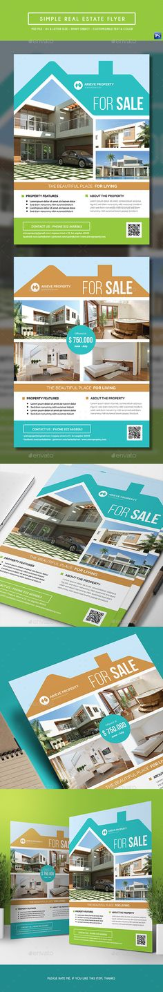 Simple Real Estate Flyer Template PSD. Download here: http://graphicriver.net/item/simple-real-estate-flyer/16875461?ref=ksioks
