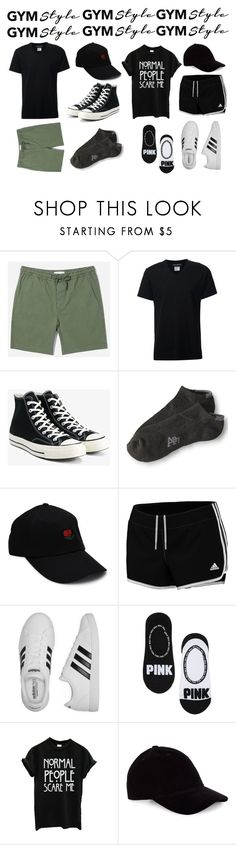"""""""Gym Style: Male and Female"""" by alternativekid ❤ liked on Polyvore featuring Everlane, Neil Barrett, Converse, Aéropostale and adidas"""