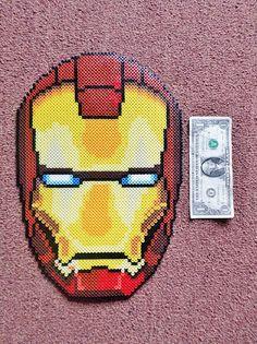 Long Black Fingers : Framed Iron Man Mask Perler Bead