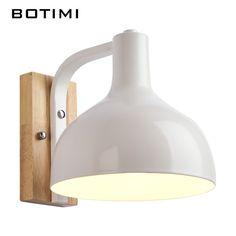 BOTIMI Nordic Wall Lamp For Living Room Bedroom Applique murale luminaire Metal Wood Wall Sconce Indoor Home Lighting