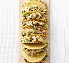 Spicy jerk prawn & mango tacos with coconut dressing