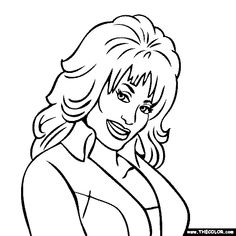 free coloring page of Dolly Parton. Color in this picture of Dolly Parton and share it with others today! Family Coloring Pages, Adult Coloring Book Pages, Free Coloring Pages, Coloring Books, Colouring, Dolly Parton Tattoos, Cricut Explore Projects, Silhouette Cameo Projects, Book Illustration