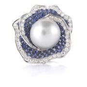 Diamond Blue Sapphire & Pearl 18K White Gold Ring