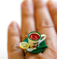 Kawaii Cute Japanese Ring  Red Tea with Lemon by fingerfooddelight, $10.00