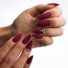 Lovely dark red nails design for almond shape nails Dark Nails, Matte Nails, Blue Nails, Acrylic Nails, Coffin Nails, Polish Nails, Almond Shape Nails, Almond Nails, Nails Shape