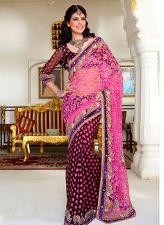 Fashionable Pink & Black Looking Brasso & Georgette #Designer #Saree