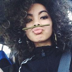 X hair and Adidas suit together🌹 Weed Girls, 420 Girls, Girl Smoking, Smoking Weed, Curly Hair Styles, Natural Hair Styles, Gangster Girl, Puff And Pass, Manicure Y Pedicure