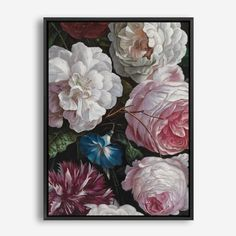 Romantic Floral Canvas Art By The Print Emporium   Painted Beautiful Dutch Pink Flower Wall Decor