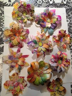 Flowers doodled from inky scraps by Claire to use to embellish wrapping paper and gift bags.