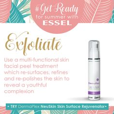 with Use a multi-functional skin facial peel treatment which re-surfaces, refines and re-polishes the skin to reveal a youthful complexion. TRY DermaPlex NeuSkin Skin Surface Rejuvenator Skin Peeling Treatment, House Of Beauty, Facial Care, Surface, Skin Care, How To Get, Summer, Products, Summer Time