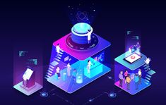 Hologram landing page website online hologram gradient isometric business ui ux web design header ico blue lights space Design Sites, Web Design, Graphic Design, City Illustration, Business Illustration, Pencil Illustration, Isometric Art, Isometric Design, Creative Sketches