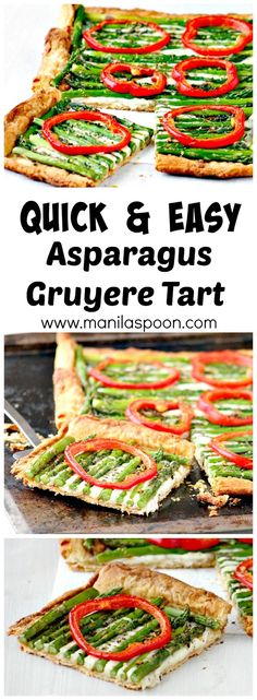 Quick and easy, delicious and delightful Asparagus Tart! I have to exercise self-control when I eat this as it's so gooood!!! Perfect appetizer for Game Day! :)