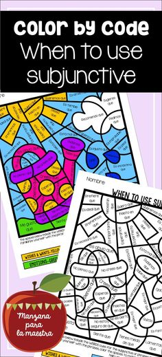 Spanish Subjunctive when to use it color by code with WEIRDO vs. indicative, el subjuntivo Big kids love to color too! Spanish Posters, Spanish Songs, Ap Spanish, Spanish Lessons, Spanish Grammar, Spanish Worksheets, Spanish Teaching Resources, Teaching Ideas, Spanish Teacher