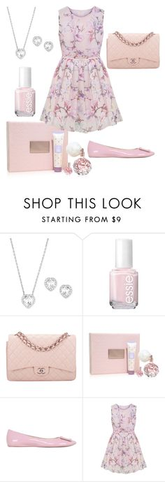 """ Delicate"" by julia-ismerim ❤ liked on Polyvore featuring beauty, Swarovski, Essie, Chanel and Roger Vivier"