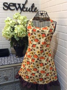Thanksgiving pumpkin fully lined adult apron by Sewcutesewing1 on Etsy