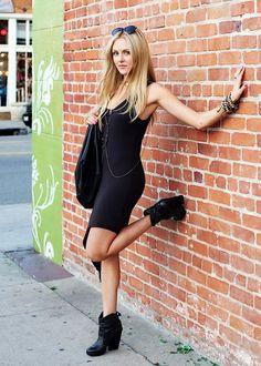 black dress black boots.