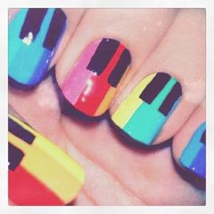 Inspiring picture art, colorfull, colors, fun, look. Resolution: Find the picture to your taste! Get Nails, Love Nails, How To Do Nails, Pretty Nails, Funky Nails, Piano Nails, Music Nails, Rainbow Nail Art Designs, Simple Nail Designs