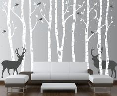 Birch Tree Wall Decal Forest with Snow Birds and Deer Vinyl Sticker Removable (9 Trees) 8 Feet Tall #1161 by Innovative Stencils
