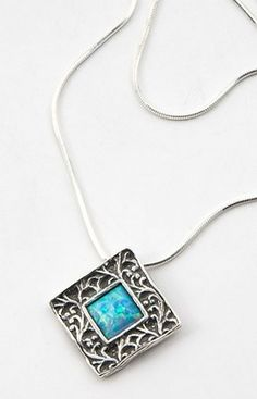 Sterling Silver Square Framed Opal Necklace