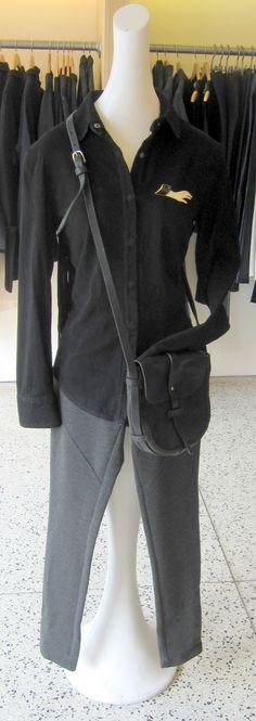 RTA suede shirt, Weinstein's private label legging, vintage Halston brooch