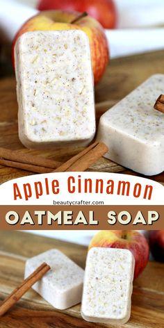 Apple Cinnamon Oatmeal Soap – Easy Melt and Pour oatmeal soap recipe. Apple Cinnamon Oatmeal Soap – Easy Melt and Pour oatmeal soap recipe. Handmade Soap Recipes, Soap Making Recipes, Handmade Soaps, Diy Soaps, Diy Soap Gifts, Apple Cinnamon Oatmeal, Oatmeal Soap, Cinnamon Apples, Ground Cinnamon